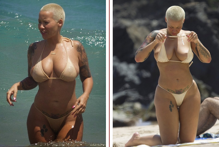 Sexy photos: Amber Rose hot and topless at the beach-700x469