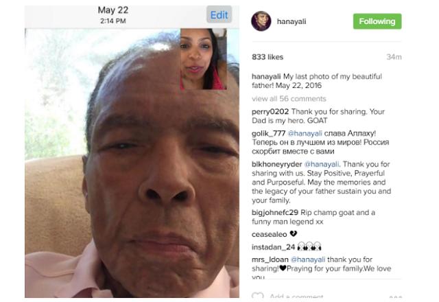 Muhammad Ali's daughter, Hana Ali shares last photo she took of him
