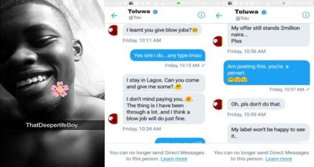 Nigerian Artiste Offers Fan Two Million Naira For a Blowjob