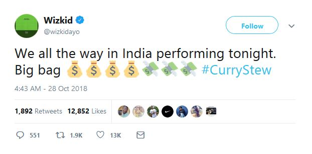Wizkid tweets about the royal wedding in India