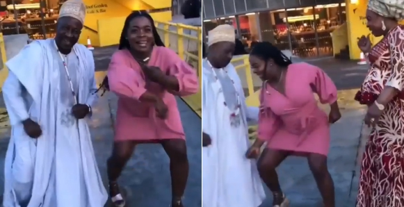Watch viral video of Nigerian lady and her parents dancing at her graduation