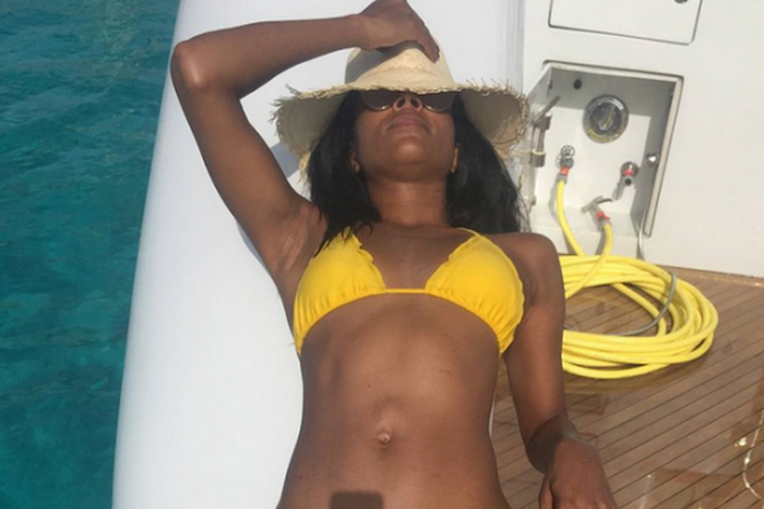 Gabrielle Union shares sexy bikini pics in yellow lingerie 700x467 theinfong.com
