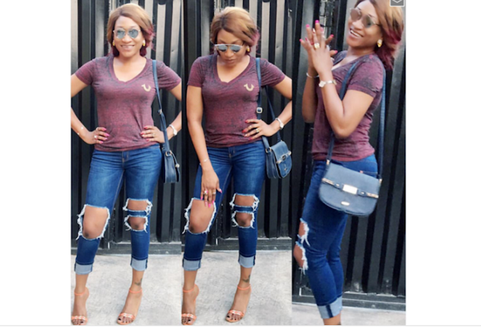 Actress Oge Okoye pretty in ripped jeans theinfong.com 700x476