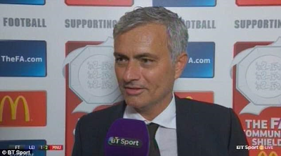 Jose Mourinho dedicates Man U's Community Shield win to former manager, Van Gaal theinfong.com