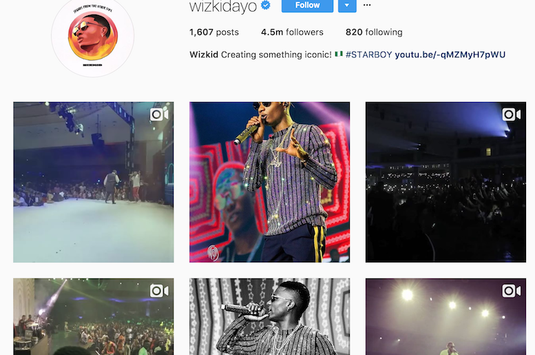 Wizkid's Instagram Page - theinfo.ng