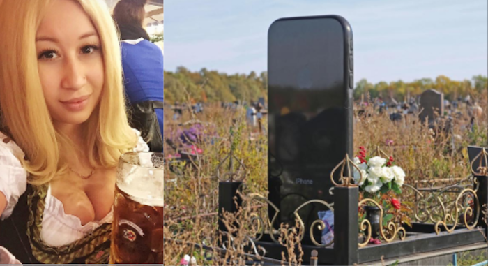 Rita Shameeva buried in iPhone-shaped tombstone theinfong