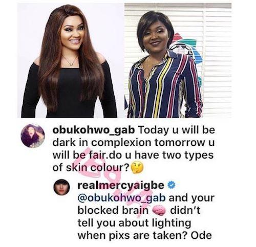 Mercy Aigbe insults fan on Instagram