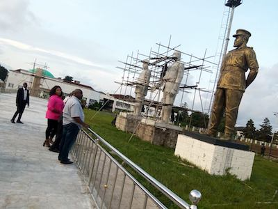 Okorocha and daughters inspect Imo statues