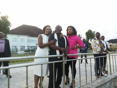 Okorocha and daughters inspect statue
