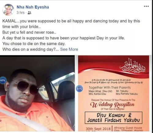 Facebook post that confirmed groom's death