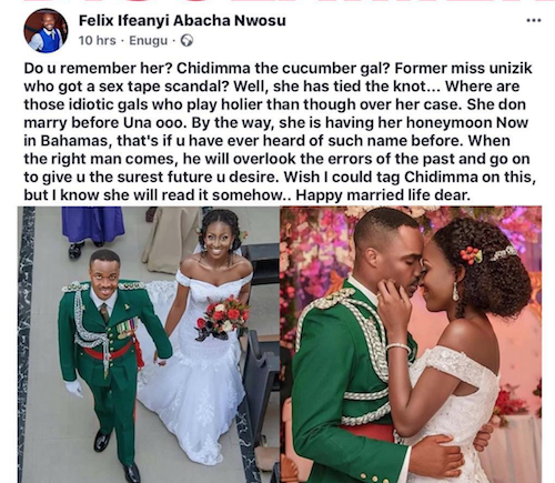Post on Facebook that prompted Chidinma's reaction