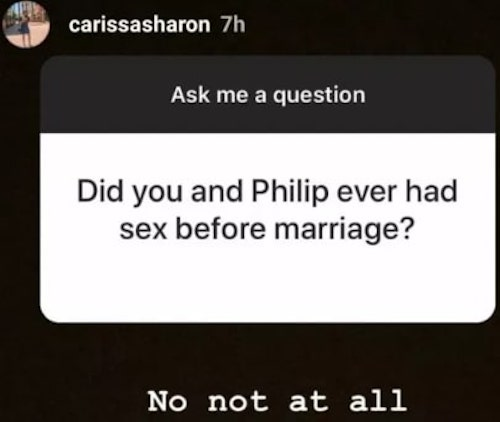 Carissa Sharon Oyakhilome message on Instagram about sex
