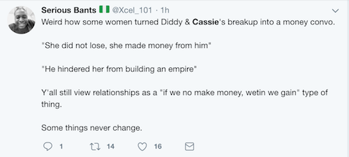 Twitter Nigeria react to Cassie and Diddy's split