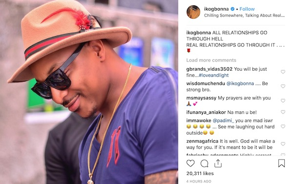IK Ogbonna post about his crashed marriage on Instagram