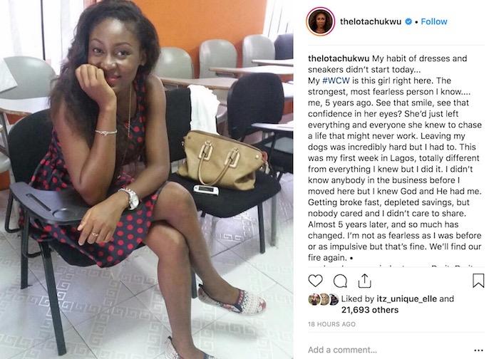 Lota Chukwu shares life experience on Instagram