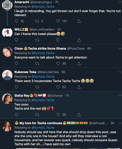Tacha rubbishes her former housemates