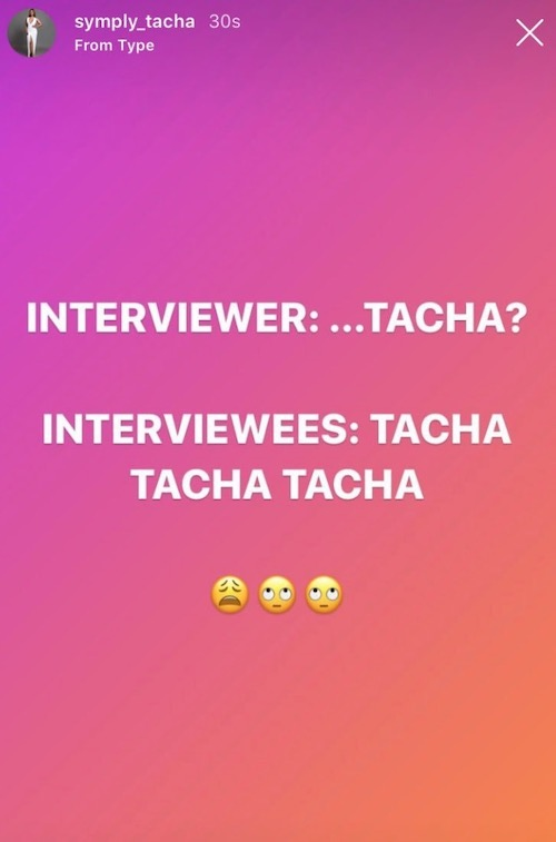 tacha post on social media