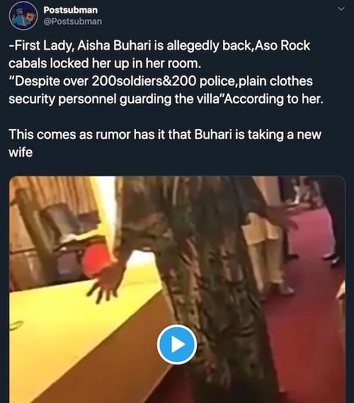 Aisha Buhari locked up