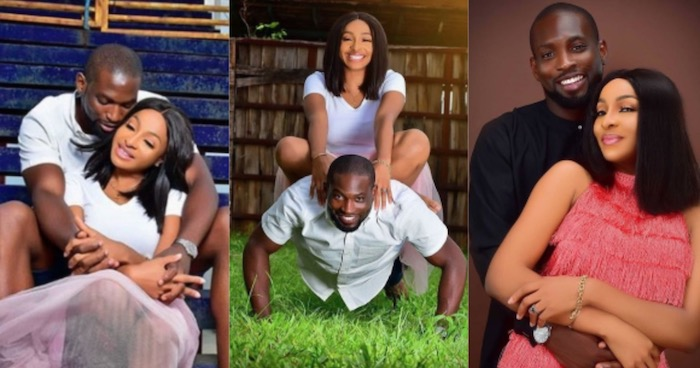 girl sits on man for pre-wedding photos