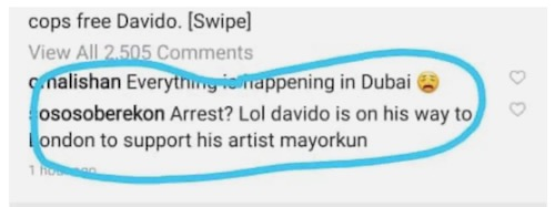 sosoberekon debunks davido arrest rumour