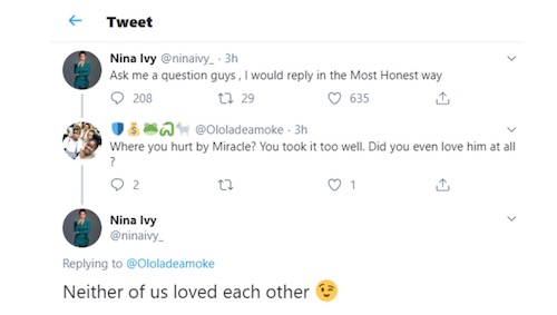 Nina says she never loved Miracle