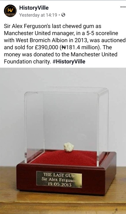 Sir Alex Ferguson's last chewed gum as manager reportedly sold for 181 Million Naira