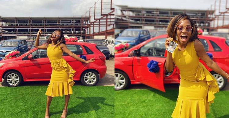 Khafi recieves the N3.85M Innosson car she won on BBNaija