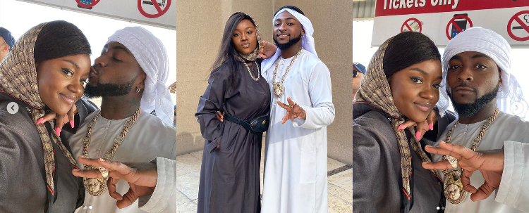 Hajia and Alhaji – Chioma and Davido stun in jalabiya outfits as they enjoy Dubai desert ride (Photos)