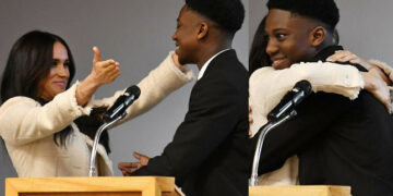 'I hope you didn't mind me cuddling your wife' - Nigerian teen who hugged Meghan Markle writes letter to Prince Harry
