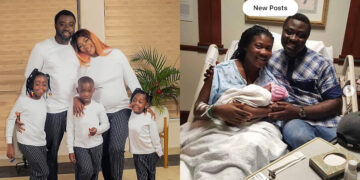 God is indeed great! Mercy Johnson welcomes her fourth child with husband in America