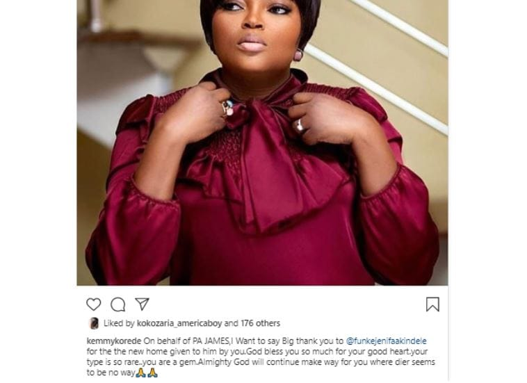 Funke Akindele gifts Pa James new house after his was sacked by flood