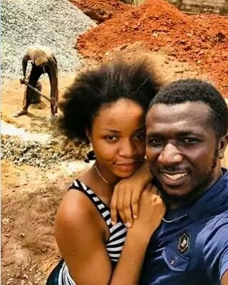 Newly-wedded wife joins husband at construction site as he starts the foundation for their dream house (Photos)