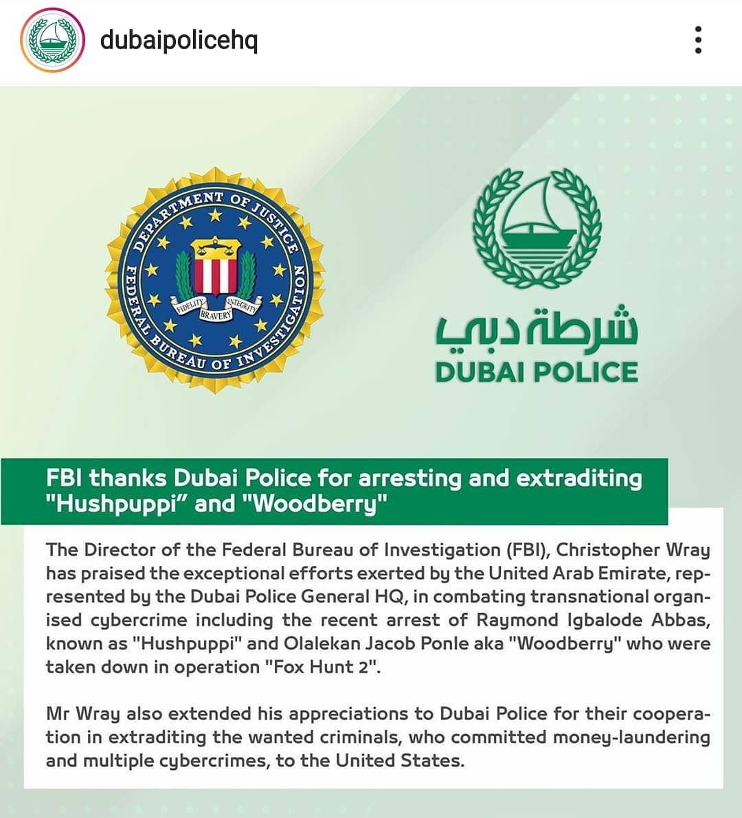Image screenshot of dubaipolice instagram post