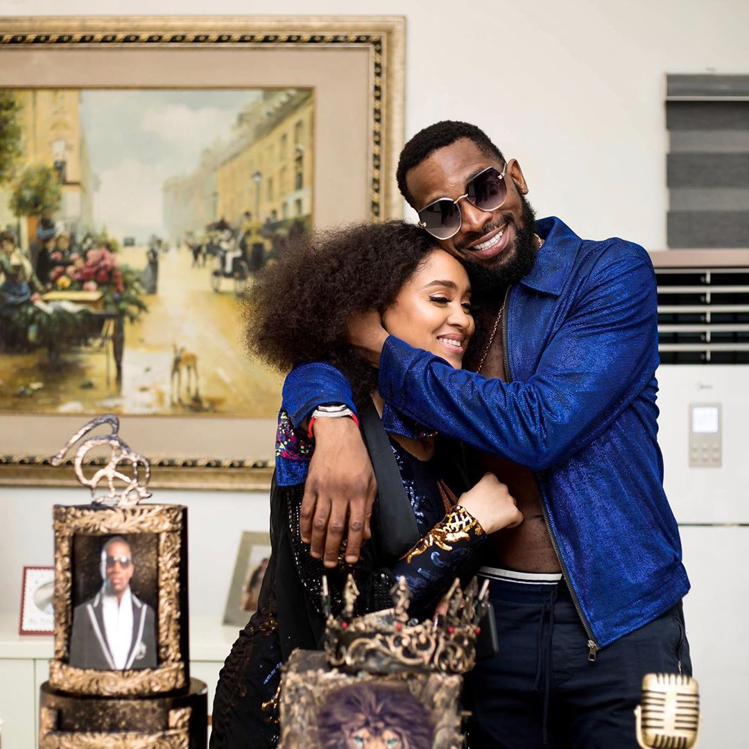 photo of D'banj and wife in a hug