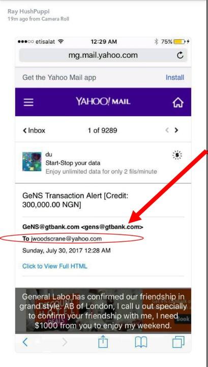 screenshot of hushpuppi fraud transaction