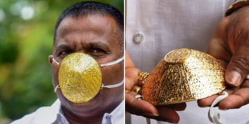 n1.5 million gold face mask