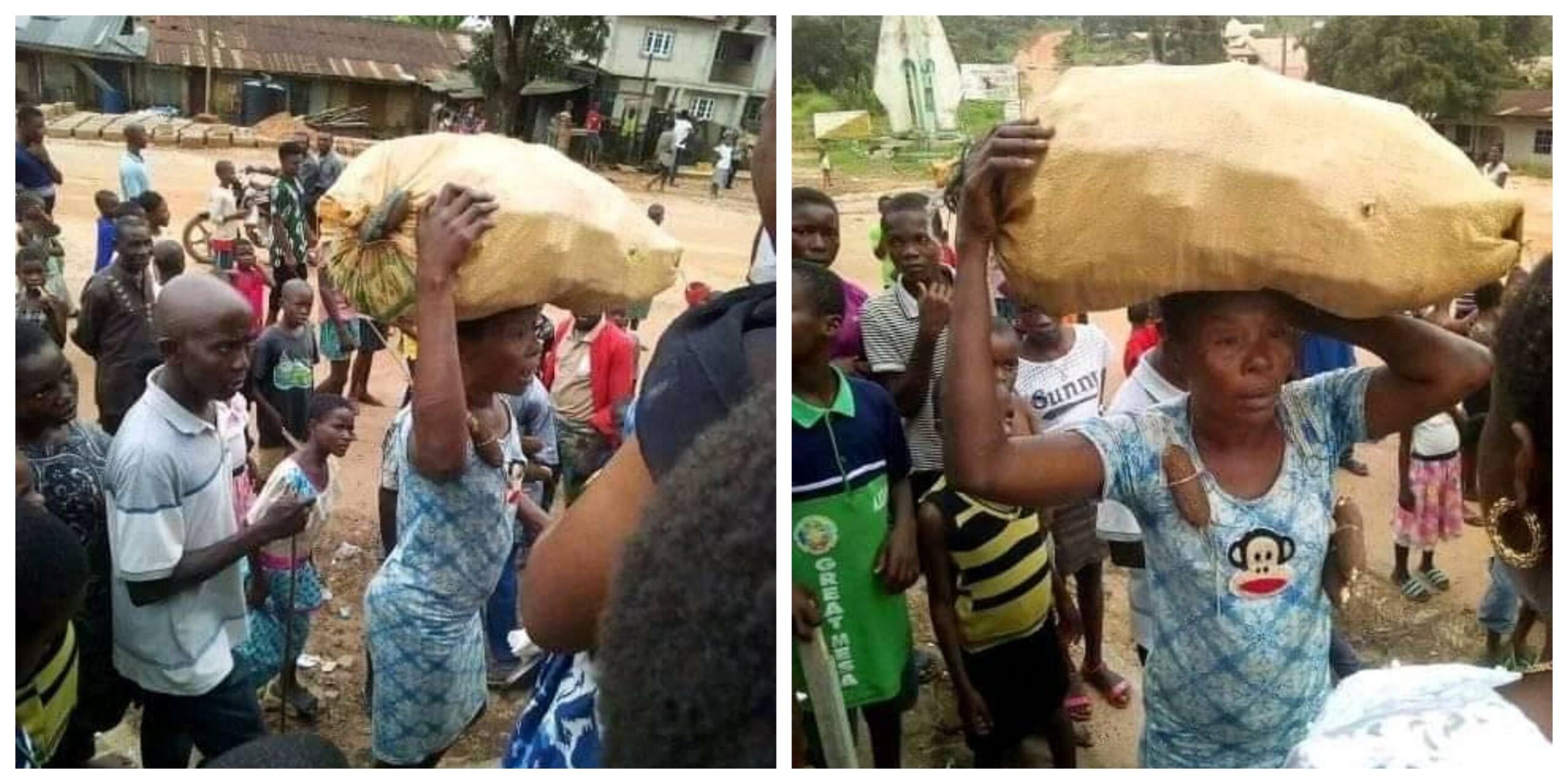 woman steals cassava