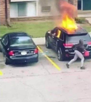 girlfriend burns car