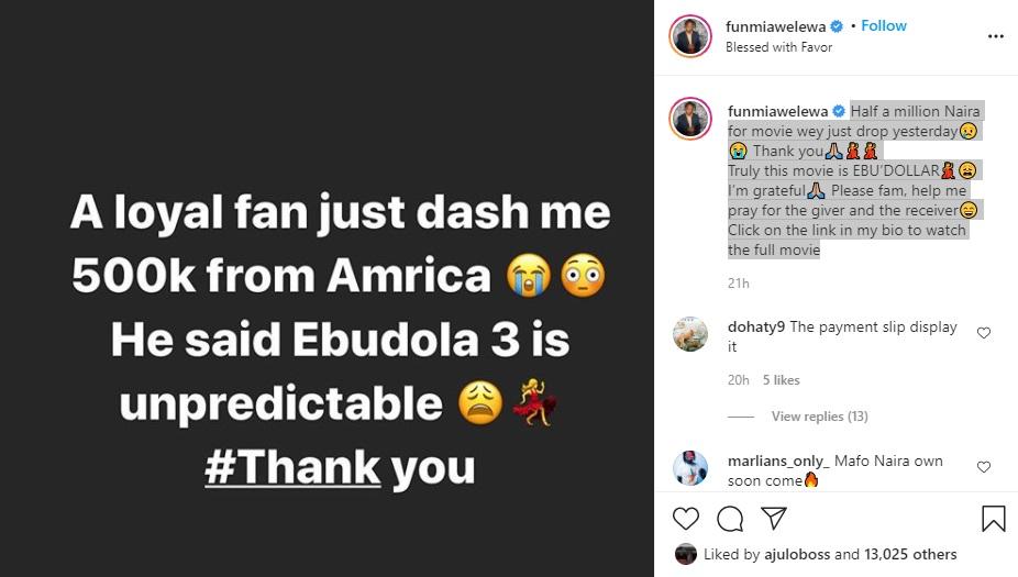 Fan gifts Funmi Awelewa half a million