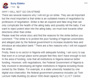 Why I will not go on ASUU Strike – Prof. Suny Edeko, Dean, faculty of Law, AAU