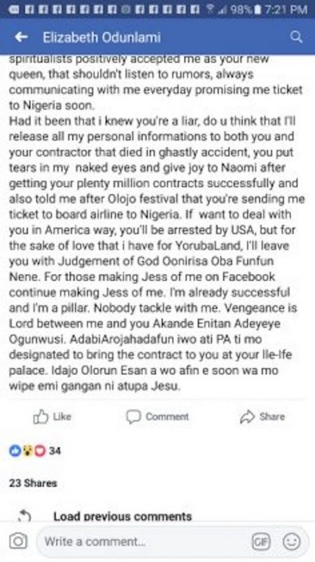 Elizabeth's post on Facebook about Ooni of Ife