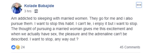 Kolade's post on Facebook about sleeping with married women