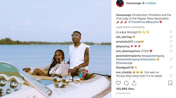 Tiwa Savage calls herself Wizkid's First Lady