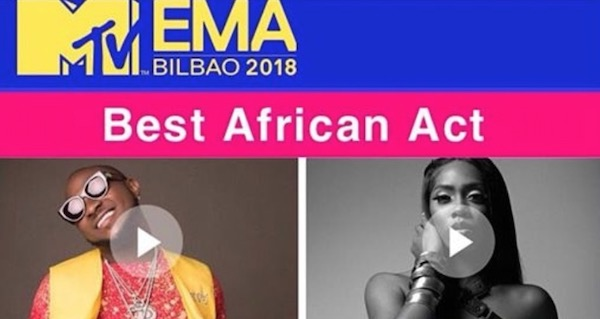 Tiwa Savage posts MTV's EMA Best African Act flyer