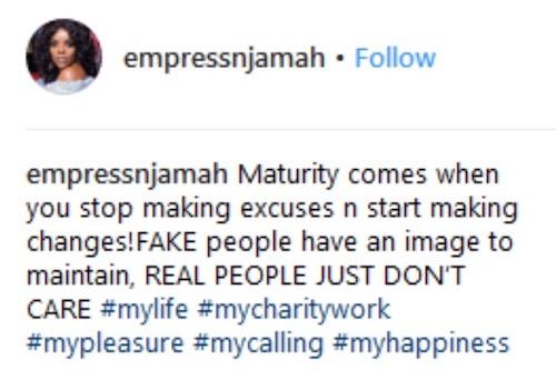 Empress Njamah replies Timaya