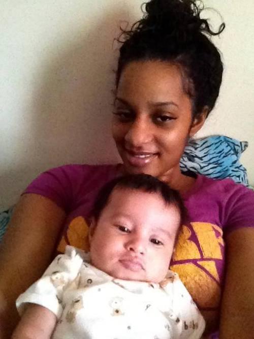 Becky Okorie karishika, with her baby