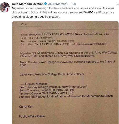 Dele Momodu reacts to Buhari's WAEC drama
