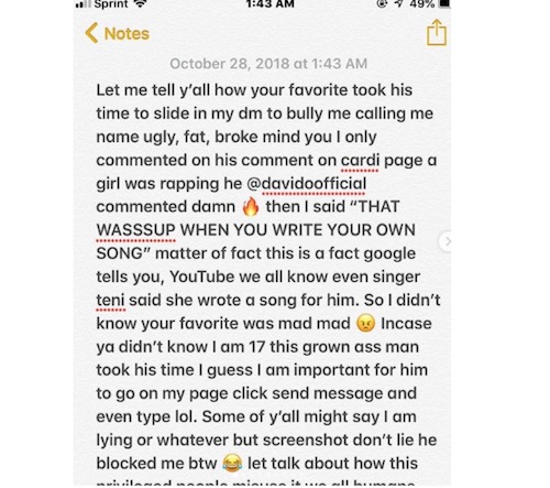 Abisade exposes Davido after he slid into her DM note 1