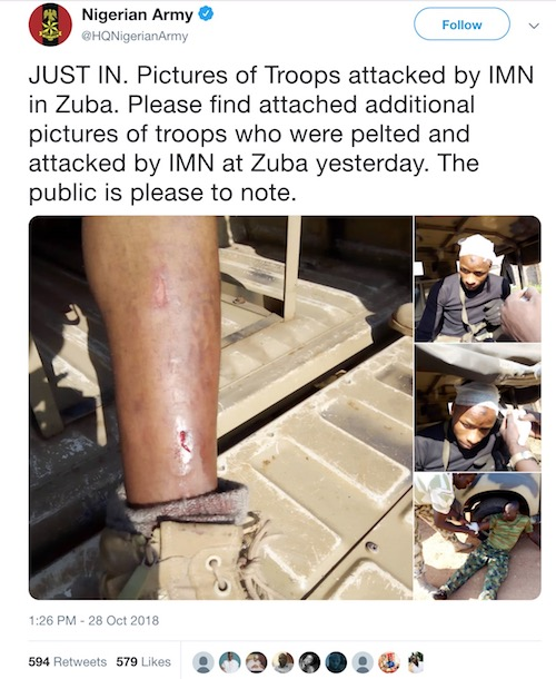 Nigerian Army shares picture of soldiers pelted by Shites