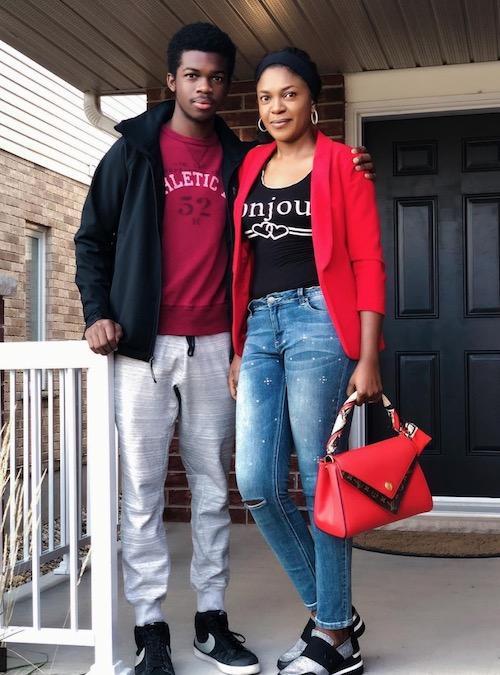 Omoni Oboli and first son in Canada